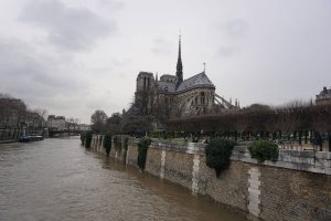 Picture of the flying buttresses of Notre Dame and the Seine in Paris, France.