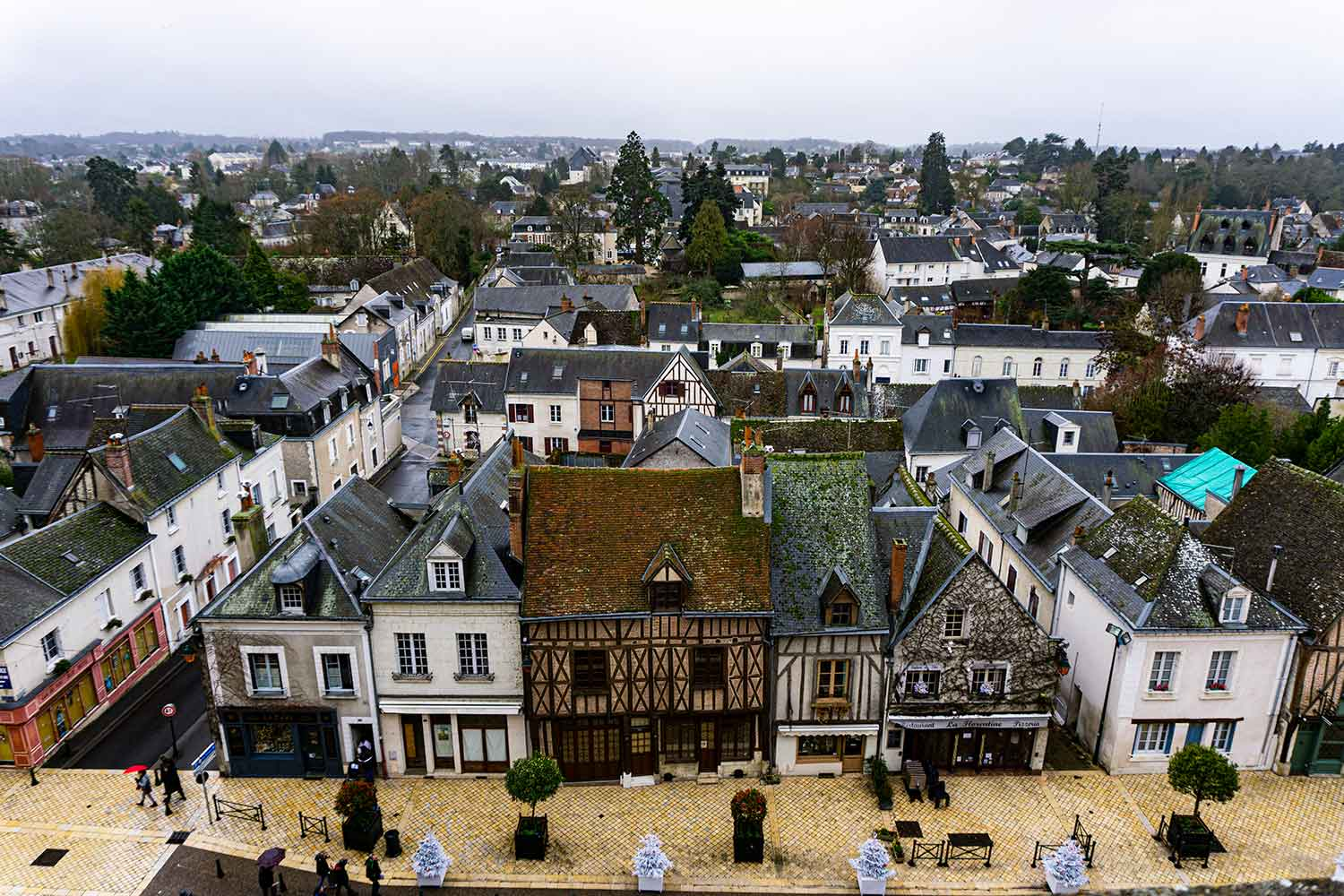 A view of the streets of Amboise from the Royal Castle of Amboise.