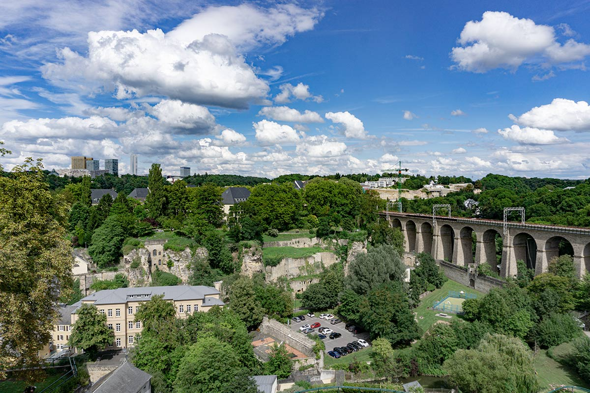 The viaduct and valley in Luxembourg.