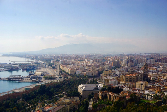 A view of the city of Malaga from the Gibralfaro fortress.