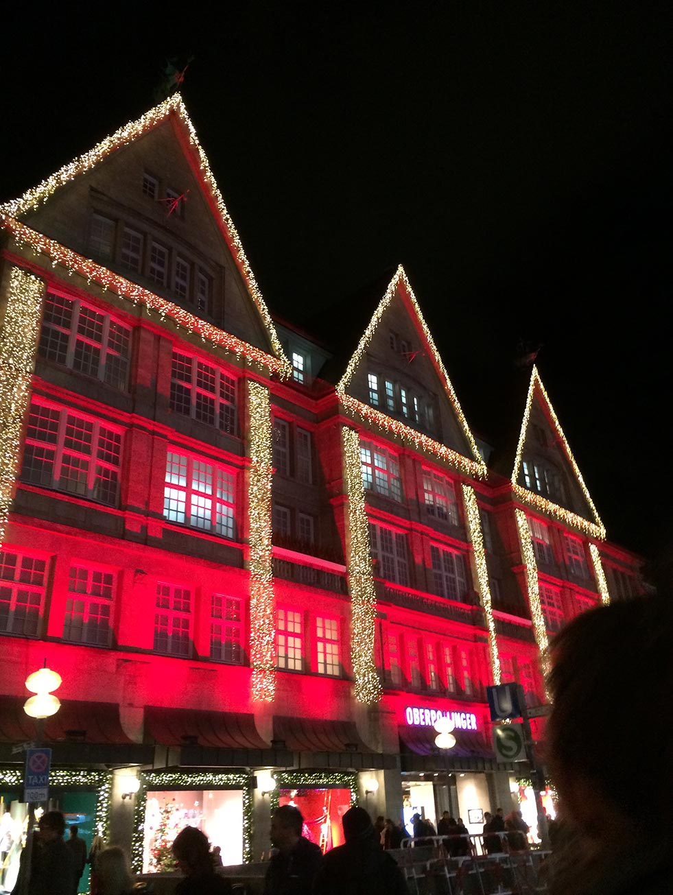 Lit up buildings in Munich, Germany during Christmas.