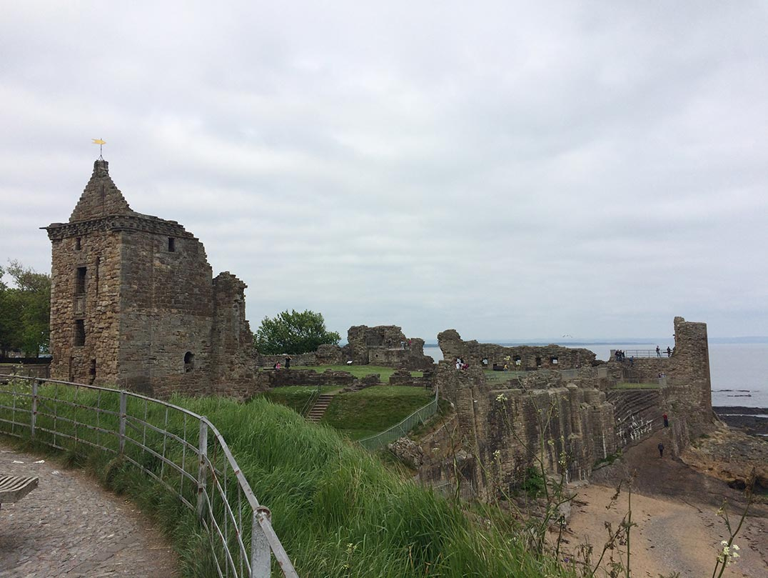 The grey, stone ruins of St. Andrews' castle.