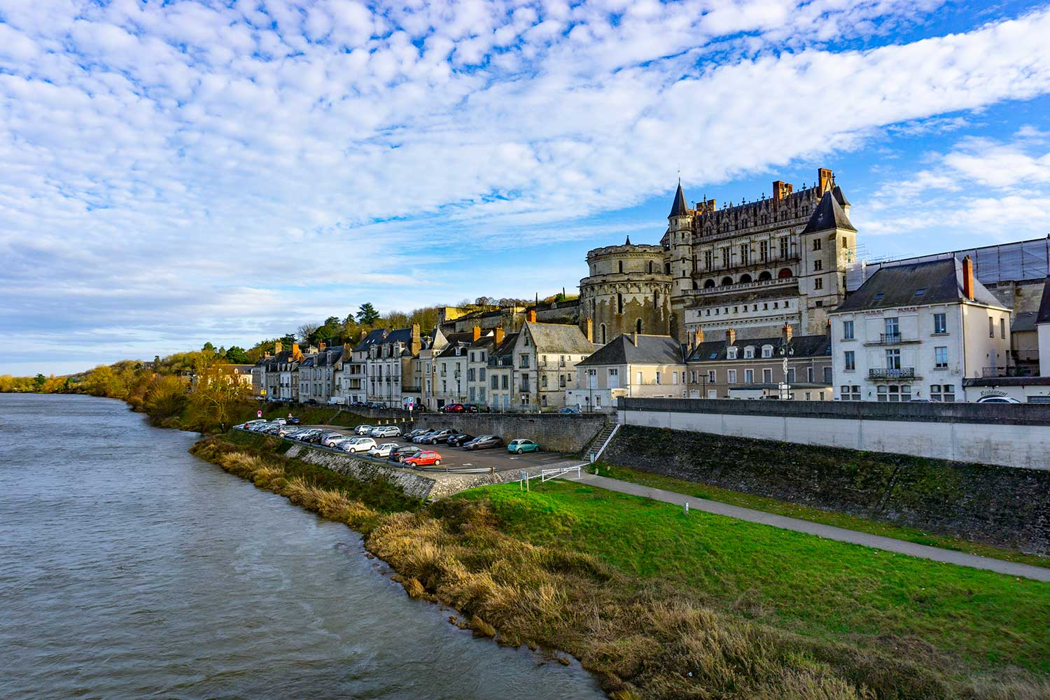 Amboise Castle next to a river in Aboise, France.