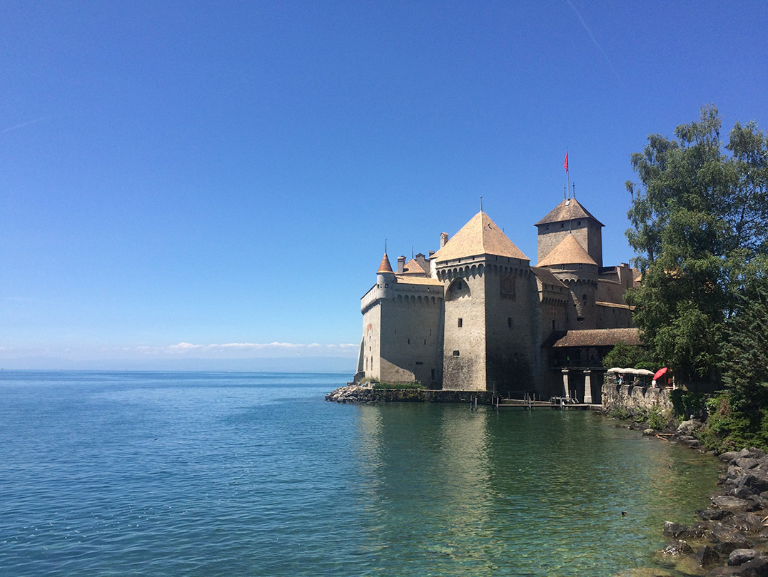 Chillon Castle in Montreux, Switzerland situated right on a lake in Switzerland.