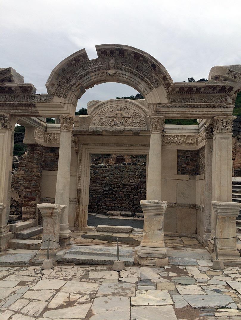 A detailed archway in Ephesus, Turkey.