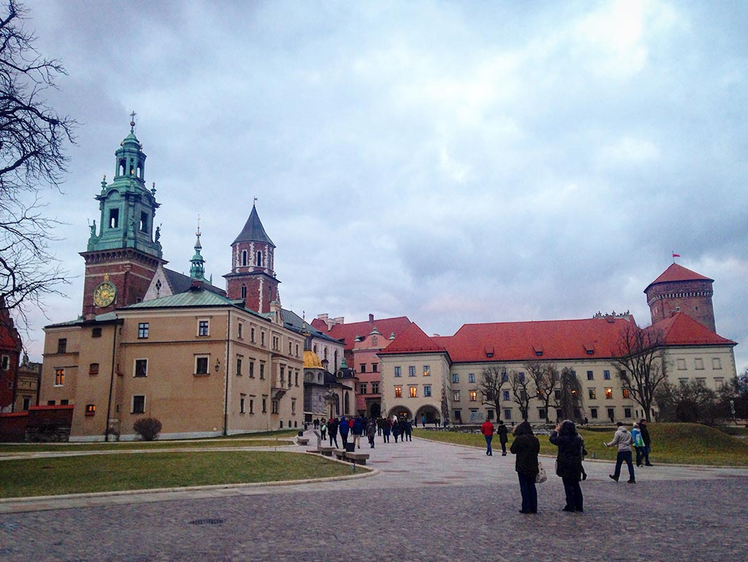 The palace in Krakow, which sits on top of the fabled dragon's lair.