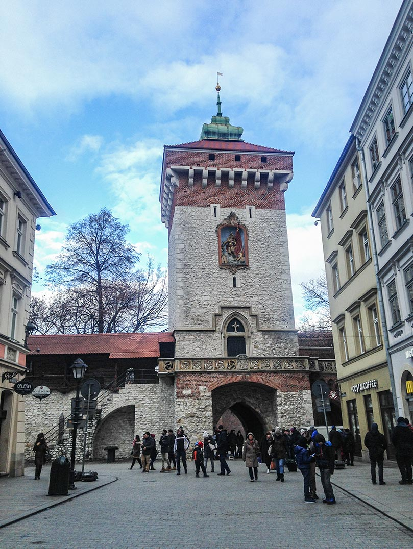 An old, stone tower in Krakow, Poland.