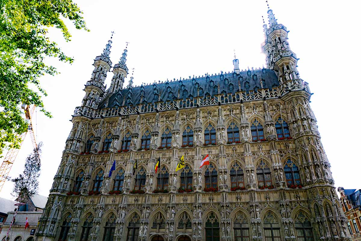 A town building in Leuven, Belgium with an extremely detailed facade.