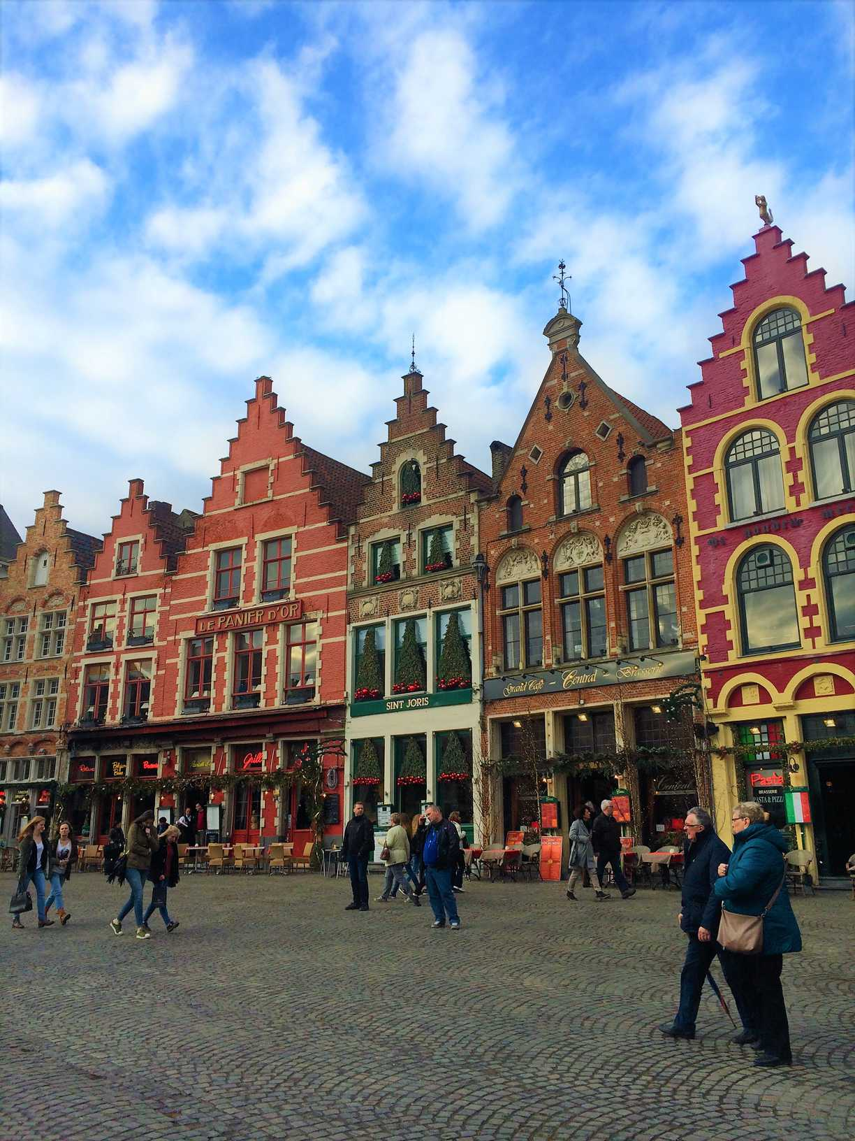 The colorful gabled buildings of Markt in Bruges, Belgium.