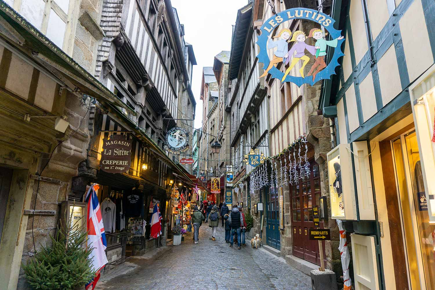 The quaint, small streets of Mont Saint Michel, France.