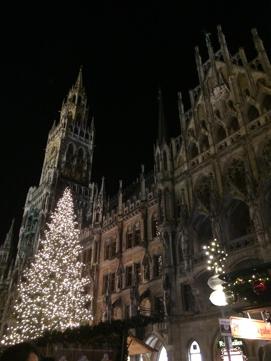 Large Christmas tree with lights in Munich, Germany.