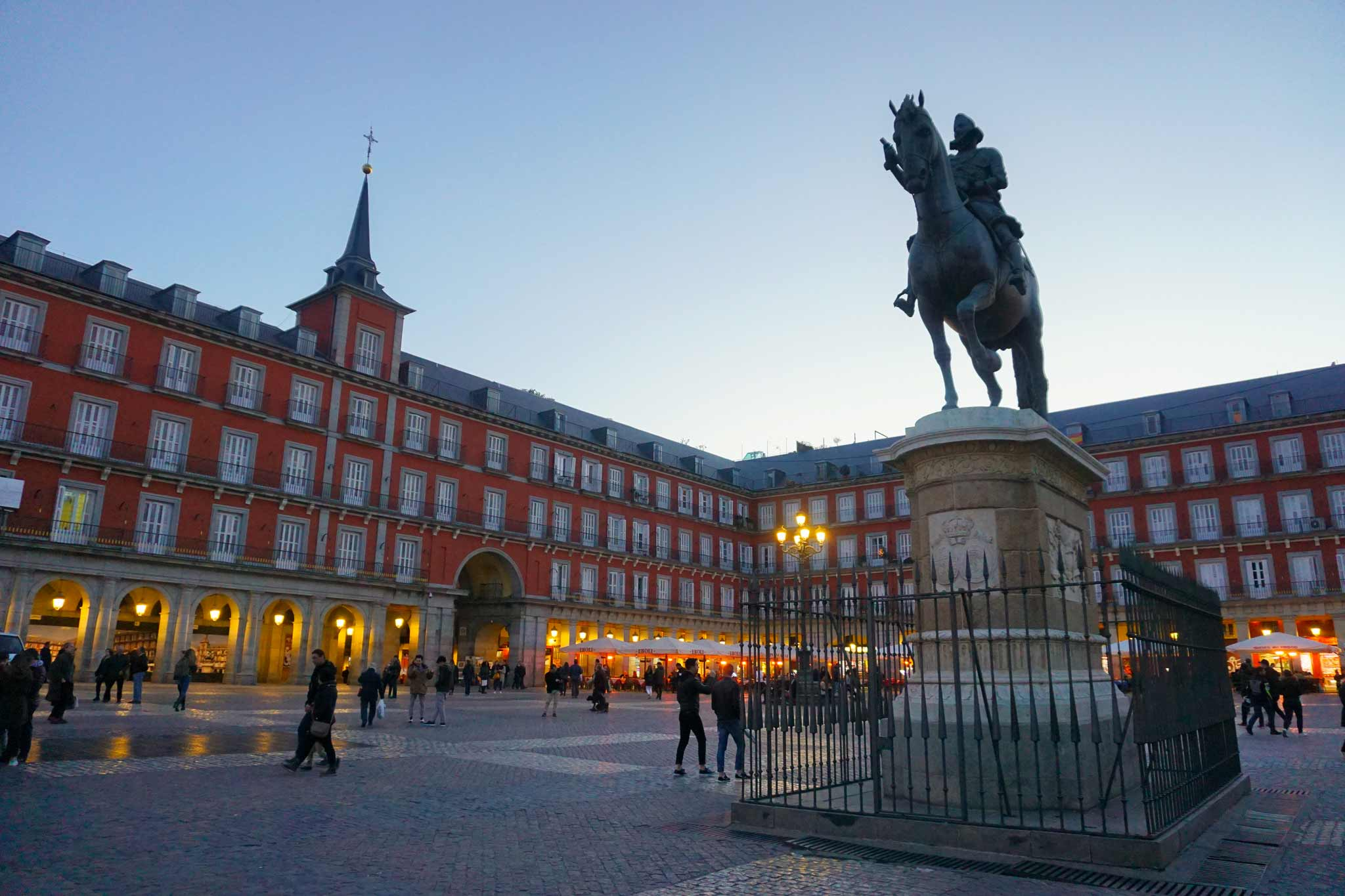 Picture of Plaza Mayor in Madrid, Spain with an equestrian statue.