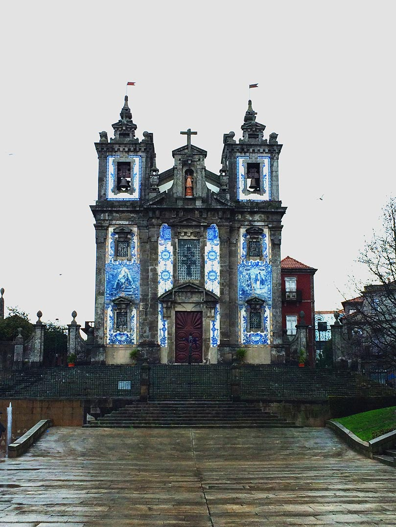 A blue tiled church in Porto, Portugal.