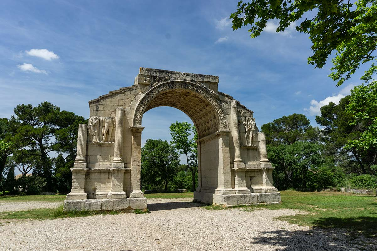 The ruins of a Roman archway outside of Saint-Remy, France.