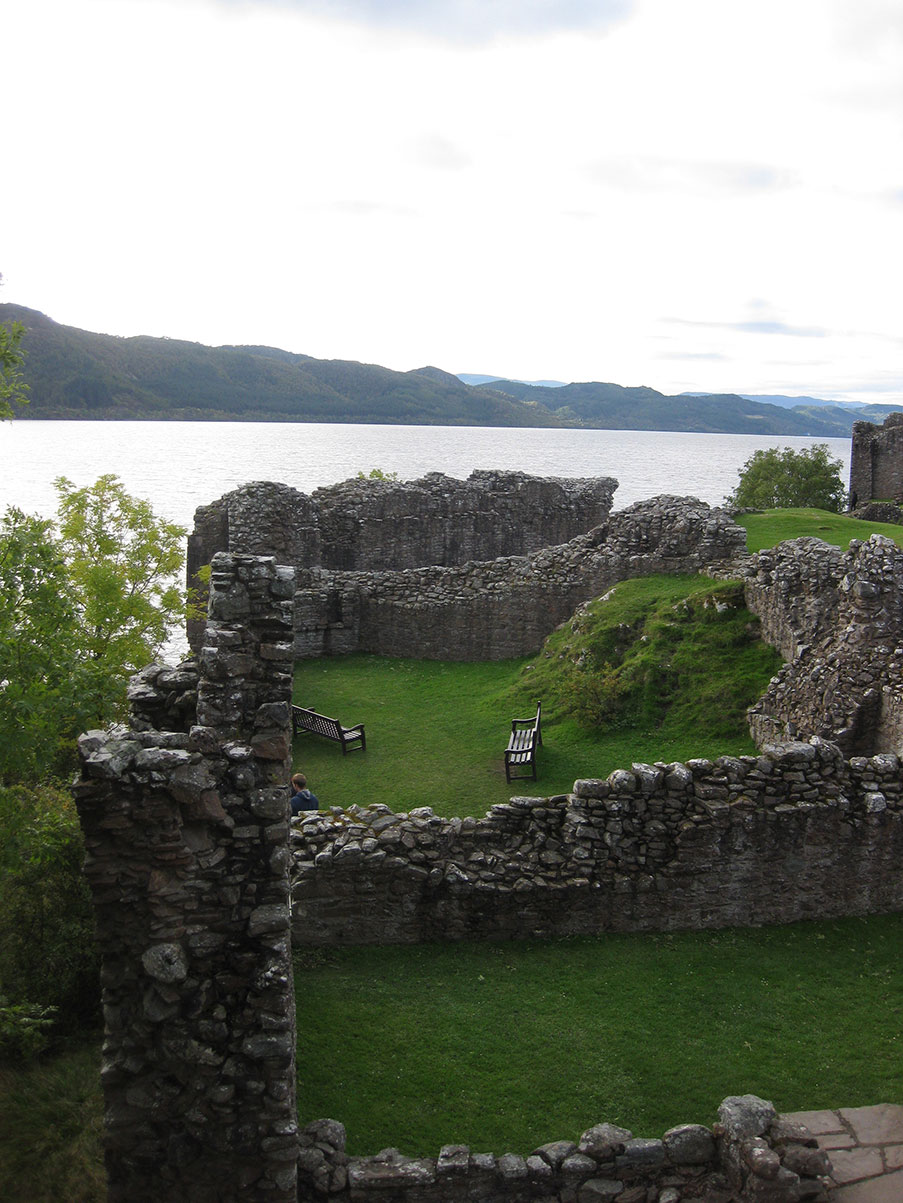 Ruins of Urquhart Castle in Loch Ness, Scotland.
