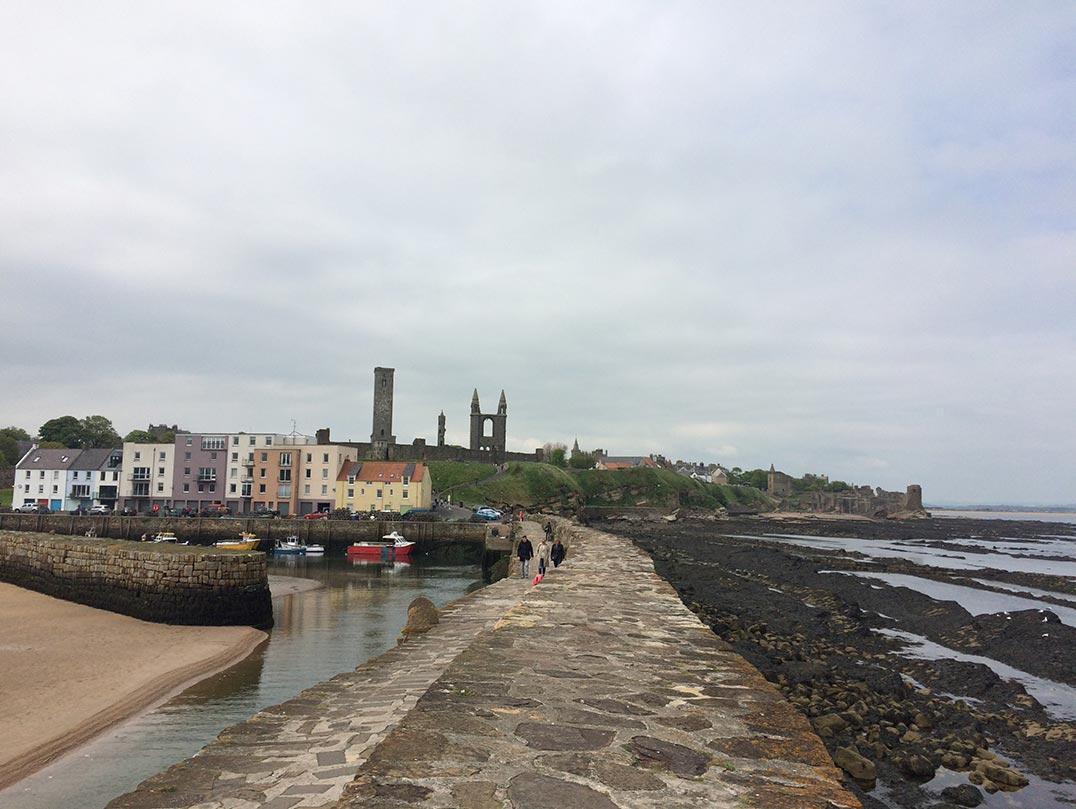 A view of the cathedral ruins from the pier of St. Andrews.