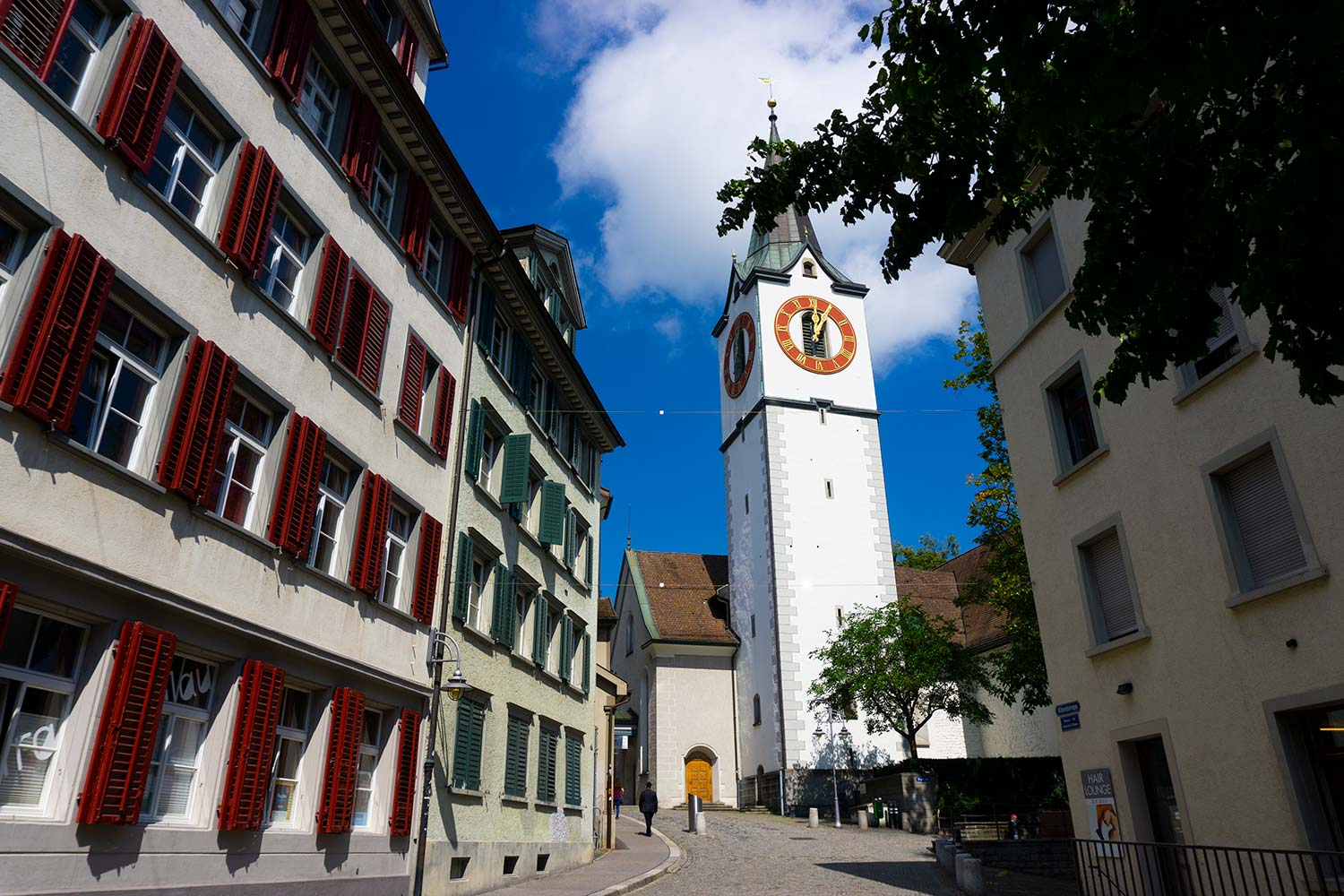 A clocktower in Gallen, Switzerland.