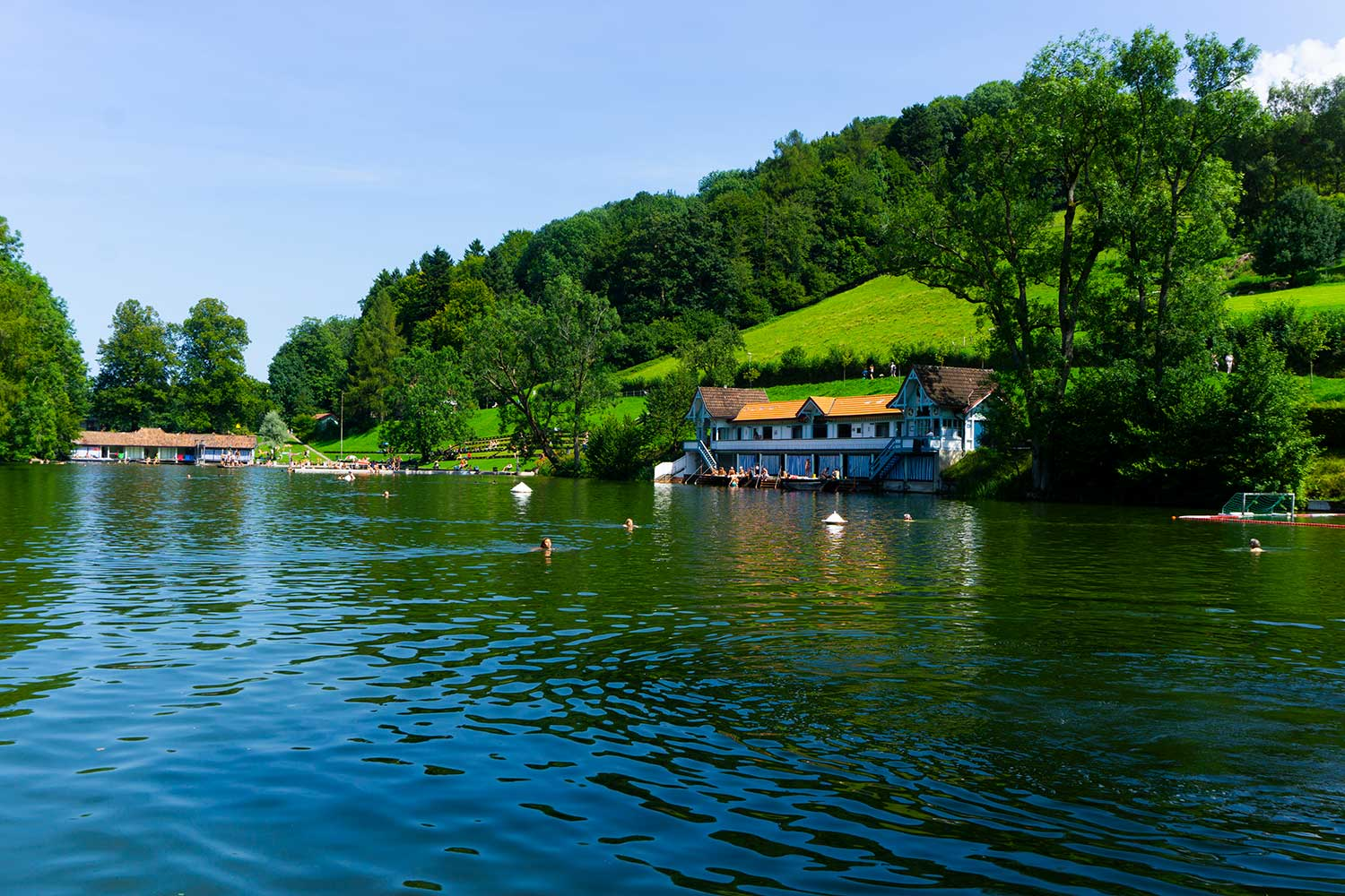 A lake for swimming in St. Gallen, Switzerland.