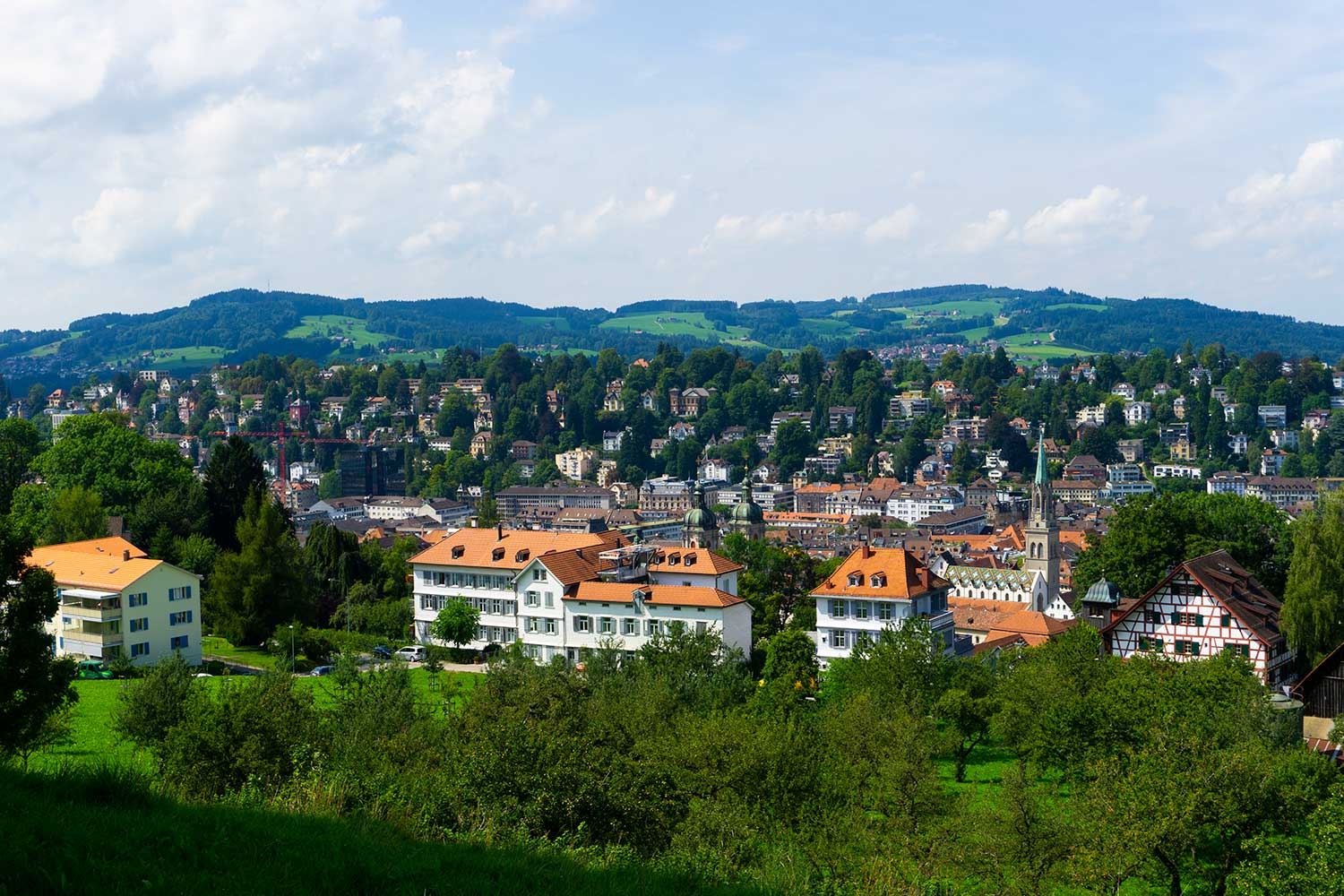 A view of the city of St. Gallen, Switzerland from the hills.