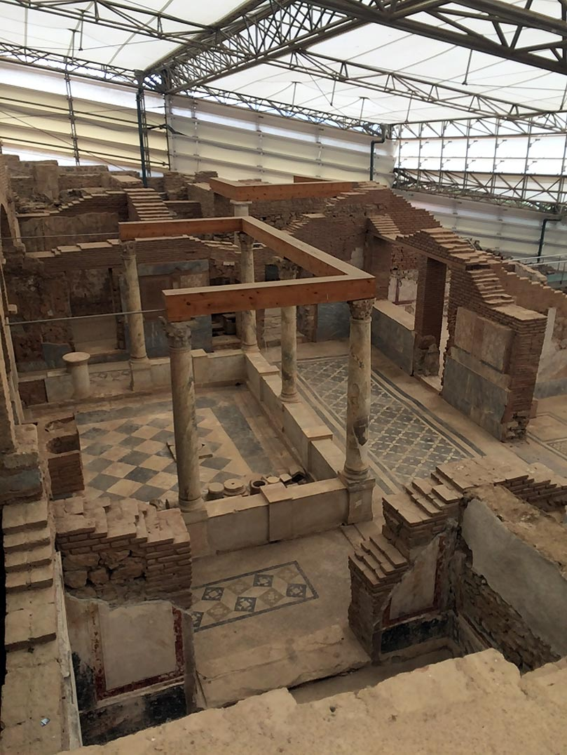 Ruins of the terrace houses with detailed mosaic floors in Ephesus, Turkey.