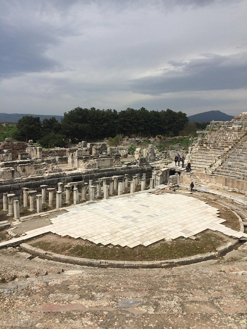 Ruins of the stage and seats of the theatre in Ephesus, Turkey.