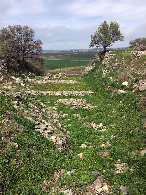 A trench filled with the ruins of ancient Troy in Turkey.