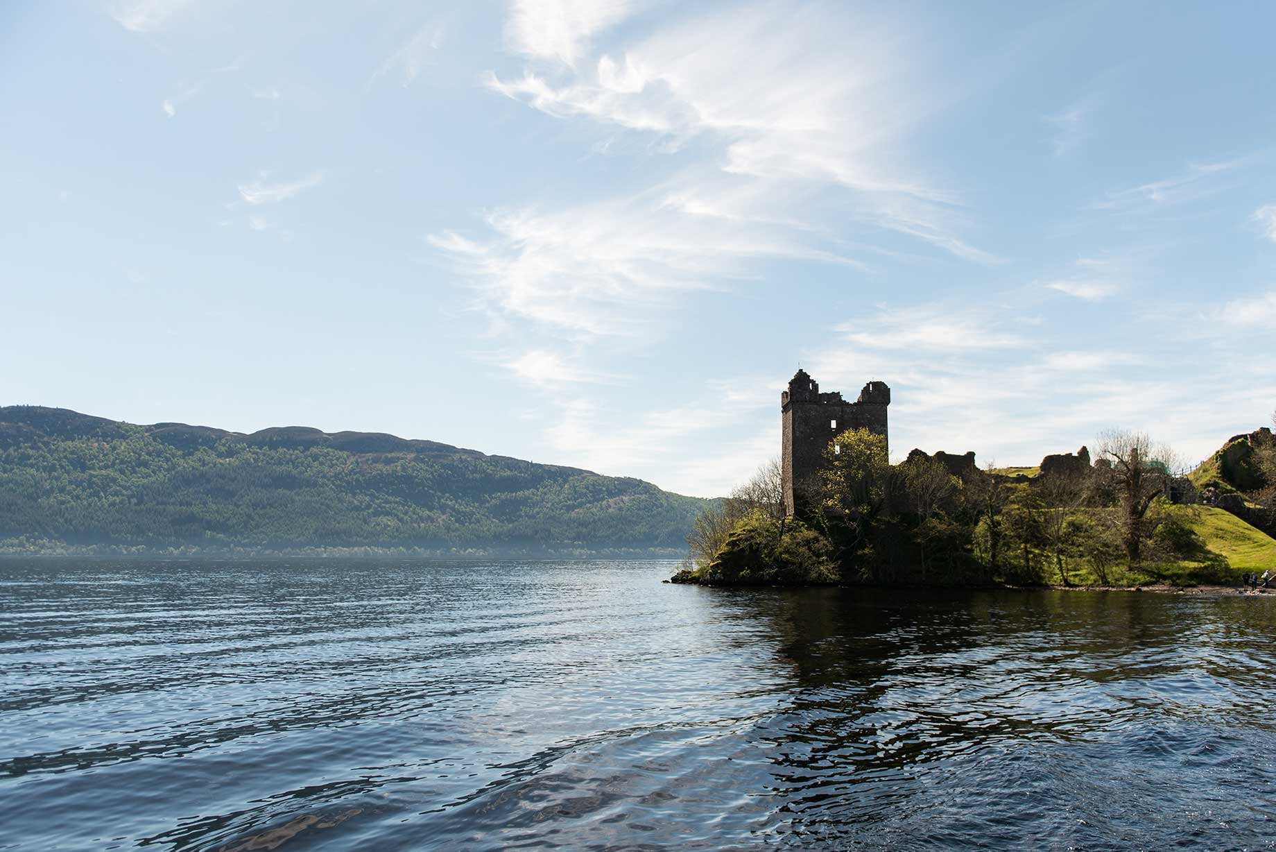 Loch Ness,in Scotland with a view of Urquhart Castle.