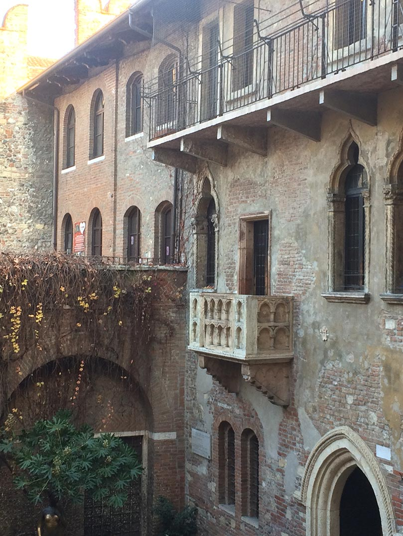 Juliet's balcony in Verona, Italy.