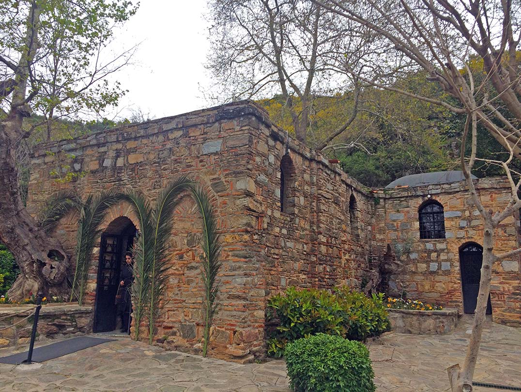 The stone house of Virgin Mary outside of the ancient city of Ephesus.